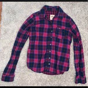 Pink and Blue Hollister Flannel